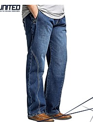 verlengde grootte jeans h-United® mannen, grote&lange mannen katoenen straight denim jeans, 38-48 plus size relaxed-fit lange broek