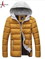 MANWAN WALK®Men's Solid Thick Warm Down Jacket.Casual Slim Hooded Coat.