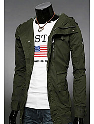 shyess Men's Hooded Double Breast Trench Coat