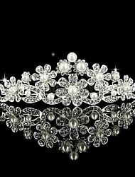 Alloy Wedding Bridal Tiara With Gorgeous Rhinestone and Pearls