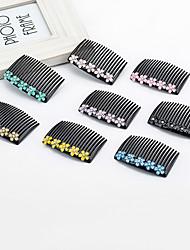 1PC Korean Flower and Diamante Hair Comb(Random Color)