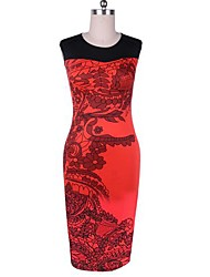Women's Vintage Print Sheath Dress, Short Sleeve