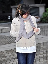 Stand Collar Zipper Long Sleeve Coat White