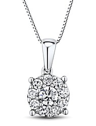 Women's Classic Cubic Zirconia Sterling Silver Platinum-Plated Necklace