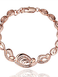 Graceful Sweet Women's White Rhinestones  Rose Gold Plated Tin Alloy Chain & Link Bracelet(Rose Gold)(1Pc)