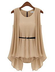 Women's Round Neck Pleated Blouse, Polyester Sleeveless