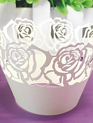12pcs White Rose Laser Cut Cupcake Wrappers Liners Muffin Cases Baby Bridal Shower Wedding Party Cake Decoartion