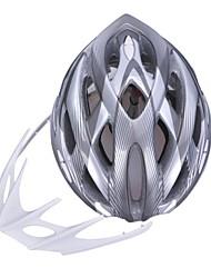moda unisex y de alta transpirabilidad pc + epp casco de bicicleta con visera desmontable (24 tiros) - gris