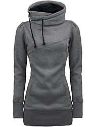 Women's Draw String Pockets Beam Waist Cotton Solid Color Hoodies