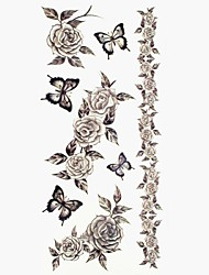 #(1) - Séries de fleur - Multicolore - Motif - #(18.5*8.5) - Tatouages Autocollants Homme/Girl/Adulte/Adolescent