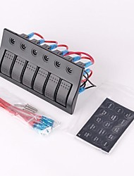 6 Gang LED Marine Boat Bridge Circuit Breaker Rocker Switch Panel