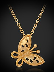 InStyle Cute Butterfly 18K Gold Platinum Plated Pendant Necklace Jewelry Gift for Women High Quality