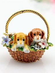 Two Dogs On The Basket Trinket Box Jewelry Box