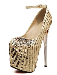 Women's Shoes Round Toe Stiletto Heel Pumps with Sequin Shoes