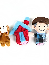 Finger Sleeve Dog + Farmer + House Plush Doll - Grey + White + Pink + Green(3 Pcs)