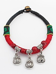 Women's Ethnic Strings Weaved Bell and Chinese Letter Lucky Charm Bracelets