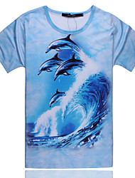 2015 Men's Summer High Quality Creative Fashion Personality Leisure Cute Space Cotton 3D T-Shirt —— The Dolphins