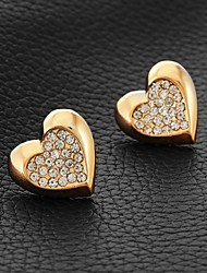 InStyle 18K Chunky Gold Plated Heats Stud SWA Rhinestone Crystal Earrings Gift for Women High Quality