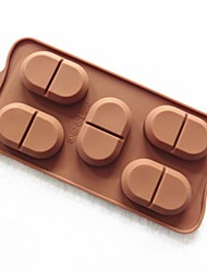 5-Loch Papua Bohnenform Form Kuchenform Eis Gelee Schokoladenform, Silikon 22 x 11 x 1,5 cm (8,7 x 4,3 x 0,6 Zoll)