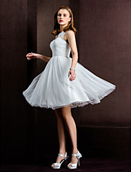 Lanting Bride A-line / Princess Petite / Plus Sizes Wedding Dress-Knee-length Bateau Tulle