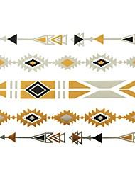 Tatuajes Adhesivos - Modelo - Series de Joya - Mujer/Girl/Adulto/Juventud - Dorado - Papel - #(1) - #(23x15)