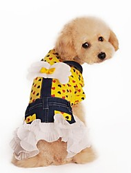 All Seasons Wedding Cotton Dresses for Dogs Yellow XS / S / M / L / XL