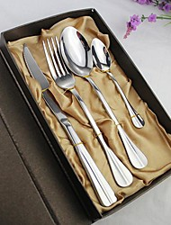 4 Pieces Steak Knife, Spoon, Fork and Teaspoon Tableware Set for Dinner with Gift Box, Stainless Steel
