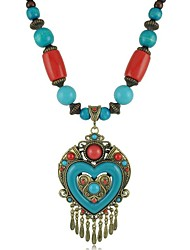 Z&X® Bohemian Style Vintage Tassels Heart Shaped Pendant Wooden Beads Strands Necklace