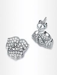 roxi délicats pétales de style boucles d'oreilles des femmes le meilleur cadeau pour une boucle d'oreille petite amie blanche zircon goujon (1 paire)