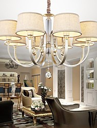 40w Chandelier ,  Country Silver Feature for Crystal Metal Living Room / Bedroom / Dining Room
