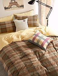 hign final hc engrossar algodão lixado capa de tecido acolchoado set 4 peças verificador padrão de estilo Suécia com folha equipada