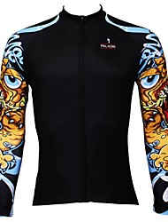 PaladinSport Men's  Summer and Autumn Style 100% Polyester  Black Long Sleeved Cycling Jersey