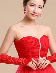 Elbow Length Fingerless Glove Satin/Polyester Bridal Gloves