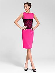 Cocktail Party Dress Sheath/Column Bateau Knee-length Polyester