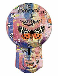 Mordern Black and Orange Butterfly Wooden Round Wall Clock
