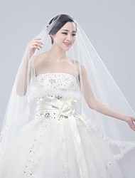 One Tire Chapel Bridal Veils with Lace Trim  ASV48