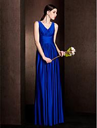 Vestido de Dama de Honor - Azul Real Corte Recto Escote en V - Hasta el Suelo Jersey