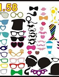 58 PCS Card Paper Photo Booth Props Party Fun Favor(Glasses & Hat & Mustache & Hat
