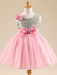 Girl's Rose Sequins Big Bow Princess Dress
