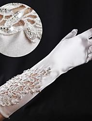 Elastic Satin Elbow Length Fingertips Wedding Gloves with Beading ASG53
