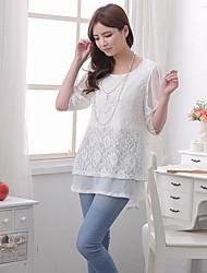 Women's Bow Sleeves Flower Lace Fabric Breastfeeding T-shirt Nursing Maternity Top