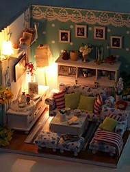 New DIY Green LED Princess Bedroom Model DIY Handmade Wooden Doll House