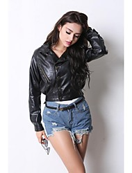 Leather Jacket Women's Long Sleeve Turndown PU  Jacket