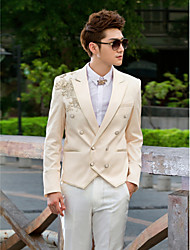 Champagne&White Sequins Slim Fit Tuxedo In Polyester