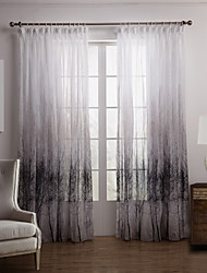 Two Panels Curtain Country , Floral / Botanical Bedroom Polyester Material Sheer Curtains Shades Home Decoration For Window
