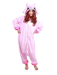 Kigurumi Pajamas Monster Leotard/Onesie Festival/Holiday Animal Sleepwear Halloween Pink Patchwork Polar Fleece Kigurumi For Unisex