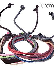 Lureme®Genuine Leather Braided Cord Bracelet (Random Color)