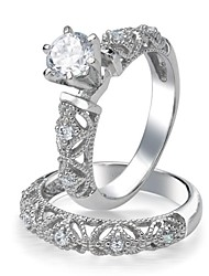 Vintage Filigree Design CZ Engagement Ring Set