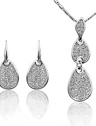 SNA diamonade cristal de l'eau-de goutte boucles d'oreilles des femmes collier 3pcs ensemble