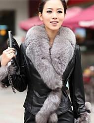 De shibeini damesmode bontkraag lange mouw leren jas
